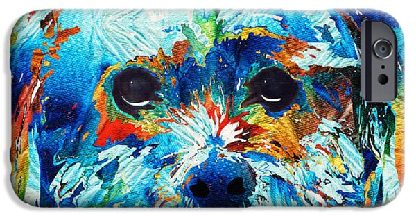 Pup iPhone Cases - Colorful Dog Art - Lhasa Love - By Sharon Cummings iPhone Case by Sharon Cummings