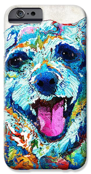 Small Dogs iPhone Cases - Colorful Dog Art - Smile - By Sharon Cummings iPhone Case by Sharon Cummings