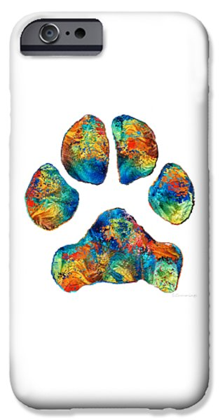 Love The Animal iPhone Cases - Colorful Dog Paw Print by Sharon Cummings iPhone Case by Sharon Cummings