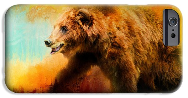 Red Abstract iPhone Cases - Colorful Expressions Grizzly Bear iPhone Case by Jai Johnson
