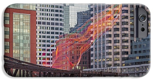 Boston Skyline iPhone Cases - Colorful Fibers Over The Boston Skyline iPhone Case by Susan Candelario