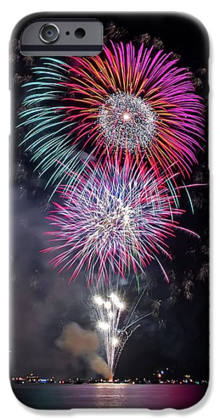 July iPhone Cases - Colorful Fireworks Over The Lake iPhone Case by Luc Mena