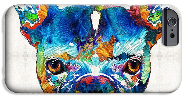 Furry iPhone Cases - Colorful French Bulldog Dog Art By Sharon Cummings iPhone Case by Sharon Cummings
