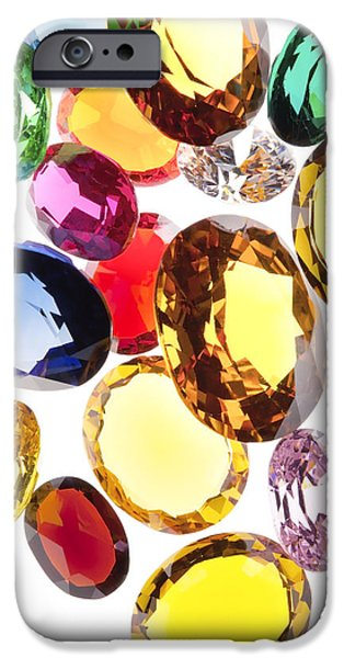 Shine iPhone Cases - Colorful Gems iPhone Case by Setsiri Silapasuwanchai