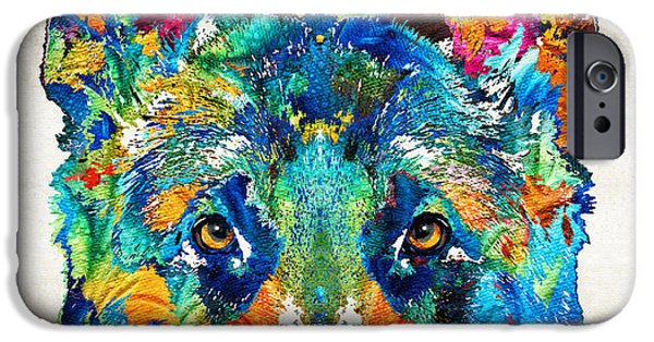 Police Art iPhone Cases - Colorful German Shepherd Dog Art By Sharon Cummings iPhone Case by Sharon Cummings