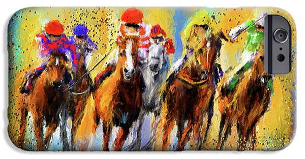 Race Horse iPhone Cases - Colorful Horse Racing Impressionist Paintings iPhone Case by Lourry Legarde