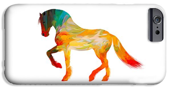 Birds iPhone Cases - Colorful Horse iPhone Case by Sheela Ajith