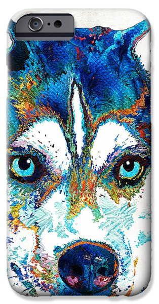 Working Dogs iPhone Cases - Colorful Husky Dog Art by Sharon Cummings iPhone Case by Sharon Cummings