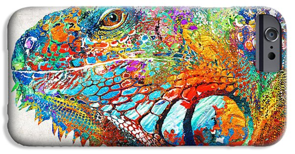 Dude Art iPhone Cases - Colorful Iguana Art - One Cool Dude - Sharon Cummings iPhone Case by Sharon Cummings