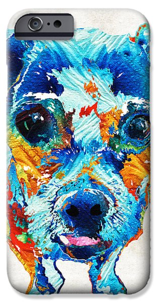 Cute Puppy iPhone Cases - Colorful Little Dog Pop Art by Sharon Cummings iPhone Case by Sharon Cummings