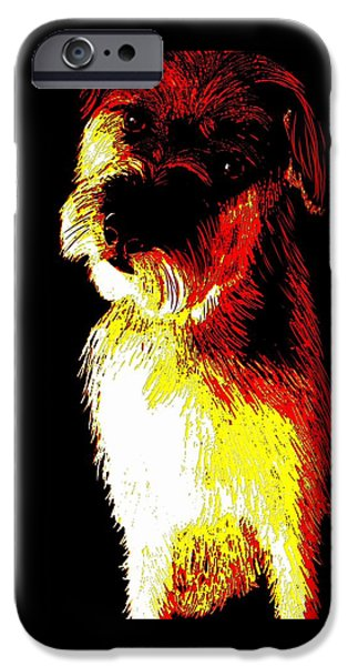 Puppies Digital Art iPhone Cases - Colorful little terrier puppy iPhone Case by Karen Harding