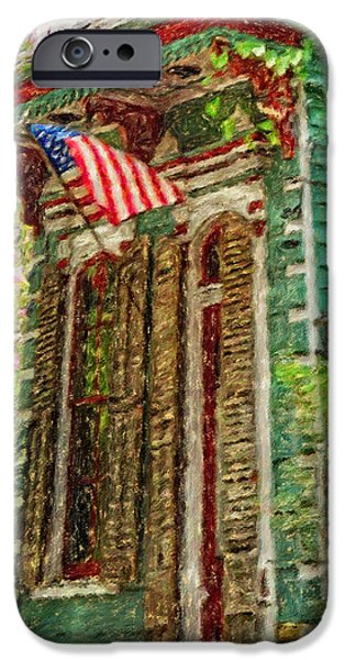 American Flag iPhone Cases - Colorful New Orleans Shotgun House American Flag iPhone Case by Rebecca Korpita