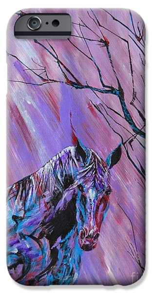 Horse iPhone Cases - Colorful Paint iPhone Case by Vicki Caucutt