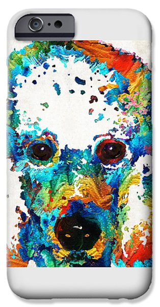 Buy Dog Art iPhone Cases - Colorful Poodle Dog Art by Sharon Cummings iPhone Case by Sharon Cummings