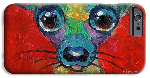 Puppies iPhone Cases - Colorful Pop art chihuahua painting iPhone Case by Svetlana Novikova