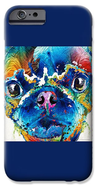 Recently Sold -  - Cute Puppy iPhone Cases - Colorful Pug Art - Smug Pug - By Sharon Cummings iPhone Case by Sharon Cummings
