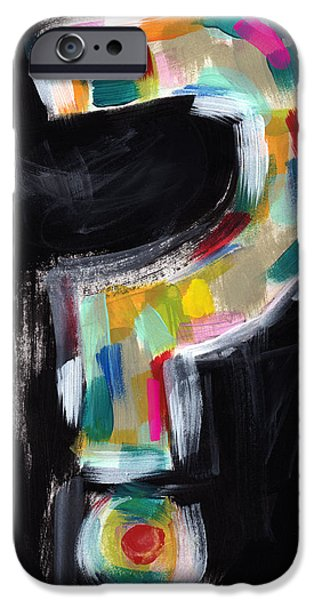 Graffiti Mixed Media iPhone Cases - Colorful Questions- Abstract Painting iPhone Case by Linda Woods