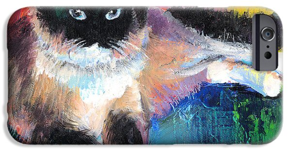 Cat Drawings iPhone Cases - Colorful Ragdoll Cat painting iPhone Case by Svetlana Novikova