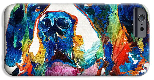 Fun Dog Art iPhone Cases - Colorful Saint Bernard Dog by Sharon Cummings iPhone Case by Sharon Cummings