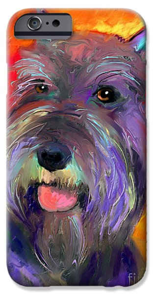 Cute Puppy iPhone Cases - Colorful Schnauzer dog portrait print iPhone Case by Svetlana Novikova