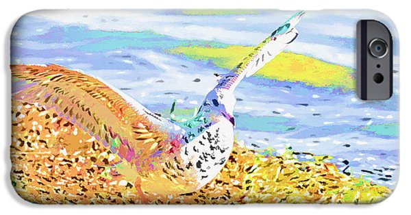 Seagull Mixed Media iPhone Cases - Colorful Seagull iPhone Case by Deborah Benoit