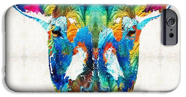 Sheep iPhone Cases - Colorful Sheep Art - Shear Color - By Sharon Cummings iPhone Case by Sharon Cummings
