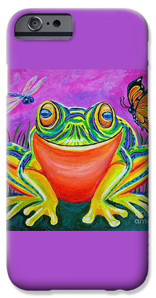 Colorful Smiling frog-VooDoo Frog iPhone Case by Nick Gustafson