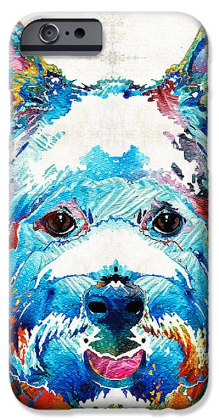 Doggie Art iPhone Cases - Colorful West Highland Terrier Dog Art Sharon Cummings iPhone Case by Sharon Cummings