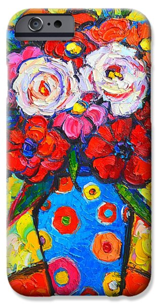 Recently Sold -  - Abstract Expressionist iPhone Cases - Colorful Wild Roses Bouquet - Original Impressionist Oil Painting iPhone Case by Ana Maria Edulescu
