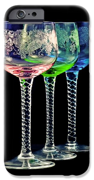 Glass Of Wine iPhone Cases - Colorful wine glasses iPhone Case by Gert Lavsen