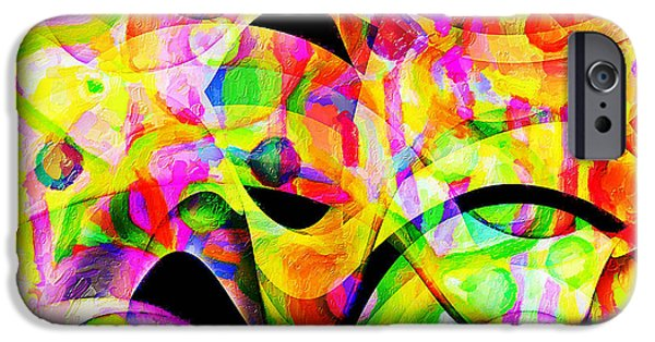 Abstract Digital Art iPhone Cases - Colors Gone Groovy iPhone Case by Le Artman