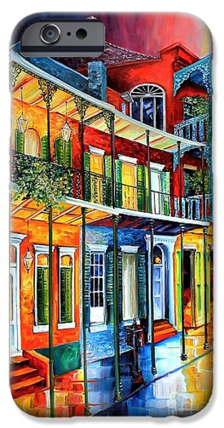 Night Lamp iPhone Cases - Colors of the French Quarter iPhone Case by Diane Millsap