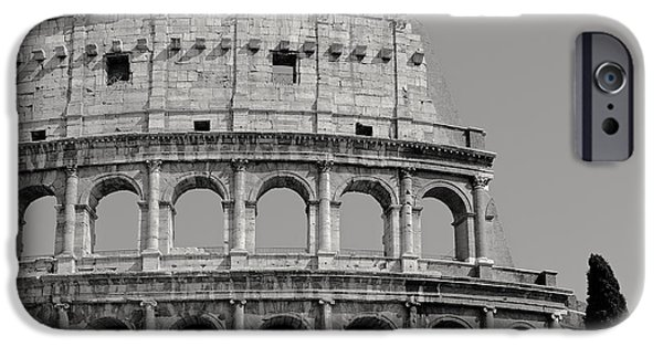 Ancient Ruins iPhone Cases - Colosseum or Coliseum black and white iPhone Case by Edward Fielding