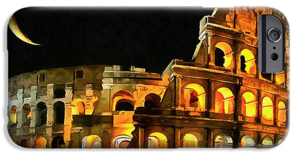 Painter Photo Paintings iPhone Cases - Colosseum Under the Moon iPhone Case by Mario Carini