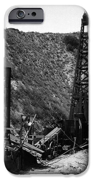 Machinery iPhone Cases - Columbia Wood Derrick Oil Well  1910 iPhone Case by Daniel Hagerman