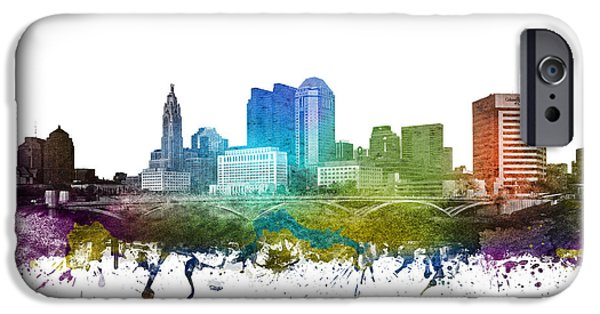 Colour Drawings iPhone Cases - Columbus cityscape 01 iPhone Case by Aged Pixel