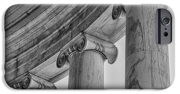D.c. iPhone Cases - Columns Detail Jefferson Memorial bw iPhone Case by Jerry Fornarotto