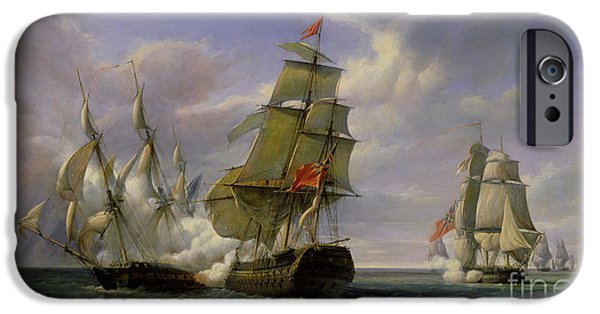 Boat Paintings iPhone Cases - Combat between the French Frigate La Canonniere and the English Vessel The Tremendous iPhone Case by Pierre Julien Gilbert