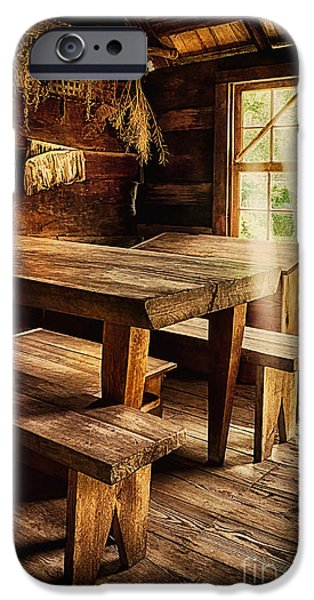 Cabin Window iPhone Cases - Come In and Sit a Spell iPhone Case by Priscilla Burgers