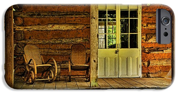 Cabin Window iPhone Cases - Come Sit A Spell iPhone Case by Judy Vincent