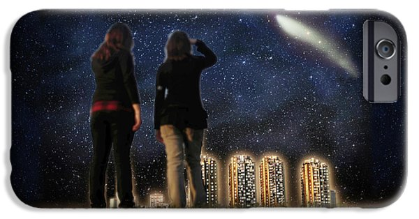 The View Mixed Media iPhone Cases - Comet over the City iPhone Case by Gravityx9  Designs