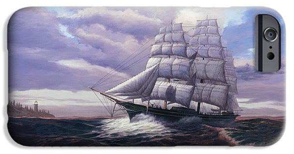 Tall Ship Paintings iPhone Cases - Coming Through The Storm iPhone Case by Del Malonee