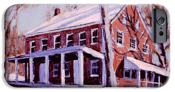 Quaker Paintings iPhone Cases - Coming to the Meeting iPhone Case by David Zimmerman