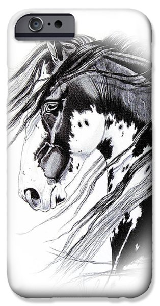Drawing Of A Horse iPhone Cases - Commanche iPhone Case by Cheryl Poland