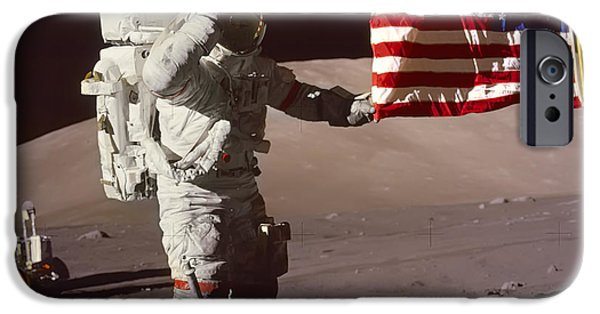 Old Glory iPhone Cases - Commander Eugene Cernan - Apollo 17 iPhone Case by Daniel Hagerman