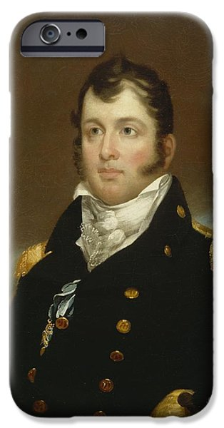 Army Men iPhone Cases - Commodore Oliver Hazard Perry iPhone Case by John Wesley Jarvis