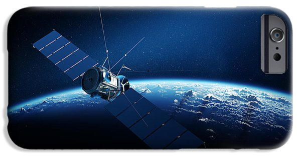 Antennae iPhone Cases - Communications satellite orbiting earth iPhone Case by Johan Swanepoel