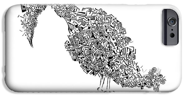 Chip Drawings iPhone Cases - Component Bird iPhone Case by Ronda Breen