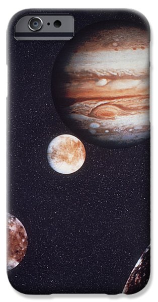 Galilean Moon iPhone Cases - Composite Image Of Jupiter & Four Of Its Moons iPhone Case by Nasa