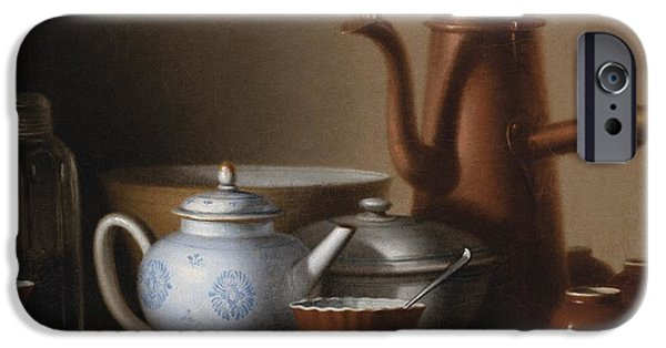 Bouys Paintings iPhone Cases - Composition With A Copper Pitcher And A Tea Set iPhone Case by Celestial Images